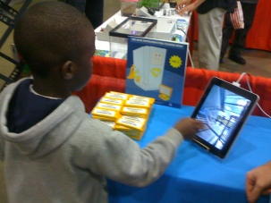 This is a student who was at a special project, School Expo and she was able to use technology she had never seen.